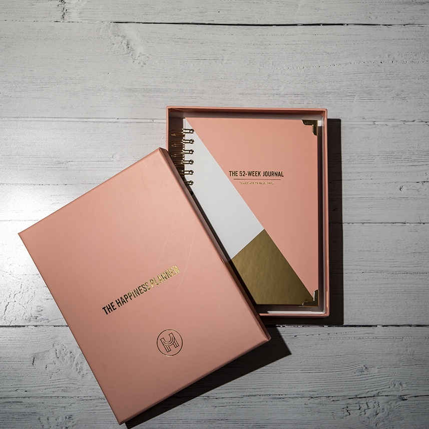 Journaling for self care with the Happiness Planner - 52 week journal in box