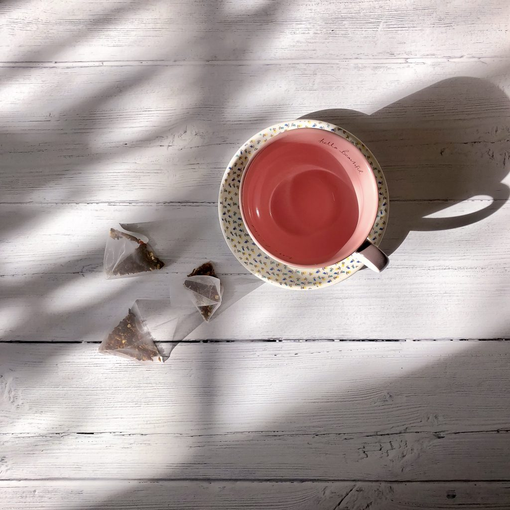 Opening up about mental health - flatlay of a cup and teabags