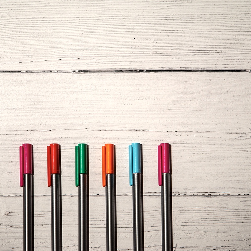 Help with mental health issues - flatlay of fineliner pens lined up