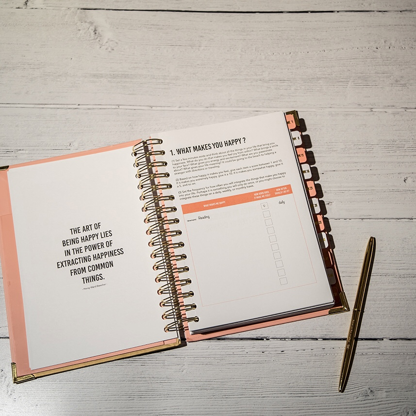 Goal setting for self care in 3 simple steps - photo is a flatlay of a self care journal and pen